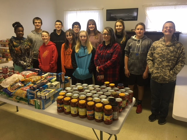 Junior High Helping at the Food Bank